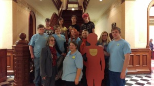 Cheyenne Triumph High School Z Club at the Wyoming State Capital for the Governor's Proclamation signing and prior to the Silent Witness Procession.  The Silent Witness is Crystal Town, the daughter of Zonta Club Member Debbie Richardson.  November 23, 2015