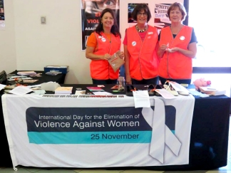 Zonta Club of Bunbury Inc white ribbon table