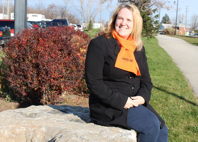 Stephanie Thompson, a member of the Zonta Club of Niagara Falls, will be participating in the Zonta Says No to Violence Against Women campaign, Tuesday. Everyone is welcome to attend | ALISON LANGLEY/Niagara Falls Review